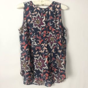 LOFT Floral Sleeveless Silky Blouse SP